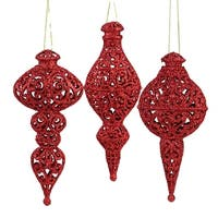 "Set of 3 Red Glitter Ball, Onion and Finial Drop Christmas Ornaments 6""- 6.5"""