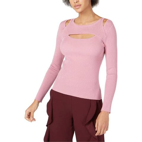 Bar Iii Womens Cutout Ribbed Pullover Sweater