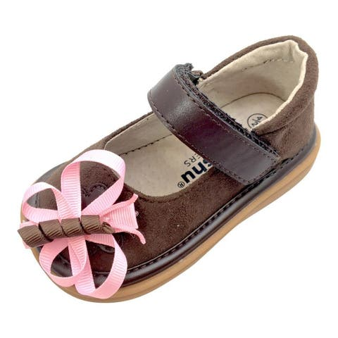 Mooshu Trainers Baby Girls Chocolate Suede Squeaky Mary Jane Shoes