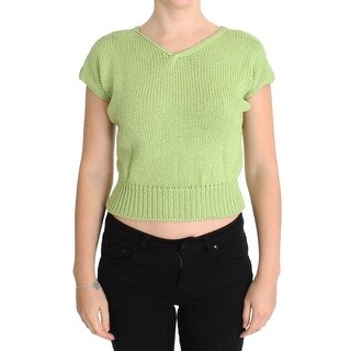 PINK MEMORIES Green Cotton Blend Knitted Sweater - one-size