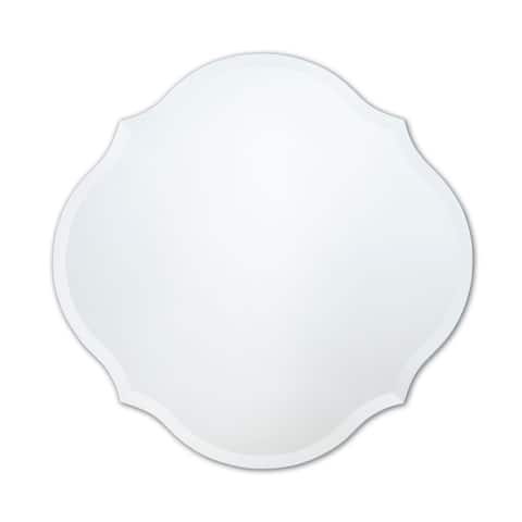 Frameless Scalloped Round Mirror - Clear
