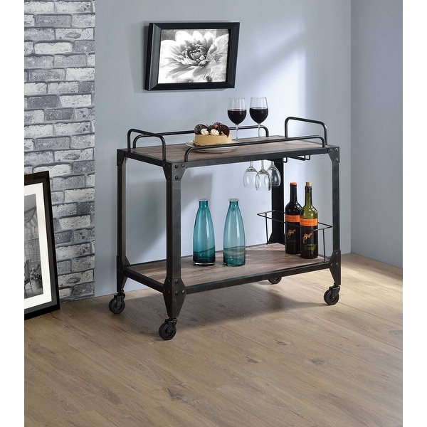 Serving Cart, Rustic Oak & Black - Particle Board, Melamine Rustic Oak & Black