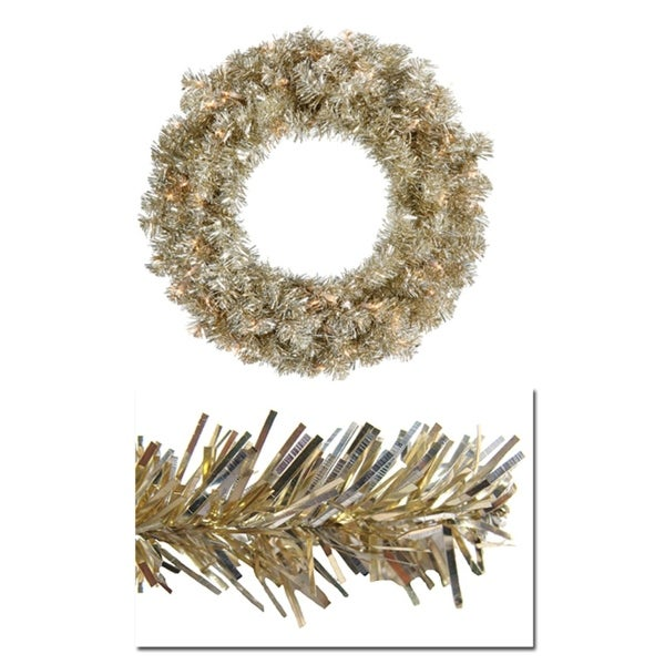 "24"" Pre-Lit Champagne Sparkling Tinsel Artificial Christmas Wreath -Clear Lights"