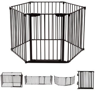 Costway 6 Panel Metal Gate Baby Pet Fence Safe Playpen Barrier Wall-mount Multifunction