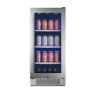 Avallon ABR151GLH 15 Inch Wide 86 Can Energy Efficient Beverage Center with LED Lighting, Double Pane Glass, Touch Control Panel