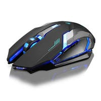 Rechargeable X7 Wireless Silent LED Backlit USB Optical Gaming Mouse - Black