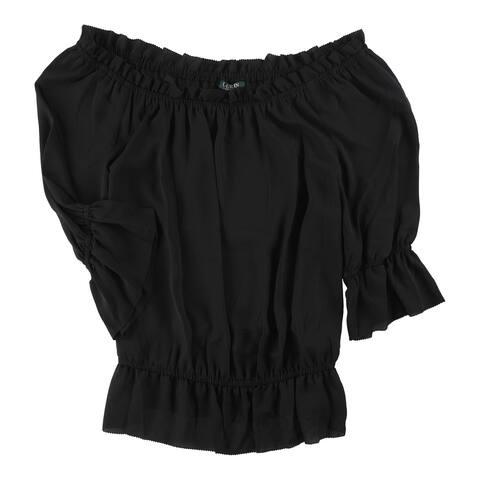 Ralph Lauren Womens Georgette Off The Shoulder Blouse