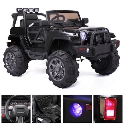 "12V Kids Ride On Car Truck Remote Control 3 Speed LED Black - 7'6"" x 9'6"""