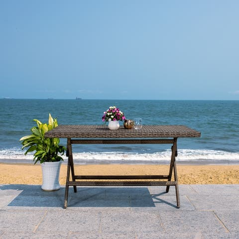 "SAFAVIEH Outdoor Akita Folding Table with Umbrella Hole - 54.6"" x 31.2"" x 28.08"""