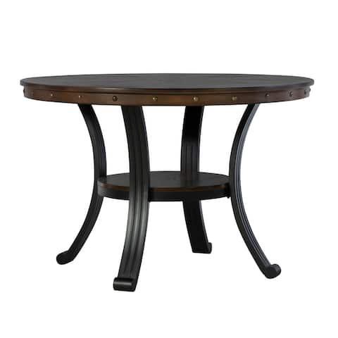45 Inch Metal and Wood Round Top Dining Table, Brown and Black