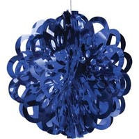 """Club Pack of 12 Blue Die Cut Hanging Metallic Foil Ball Party Decorations 16"""""""