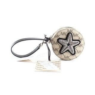 Michael Kors NEW Beige Natural Leather Star Patch Zip Coin Wallet