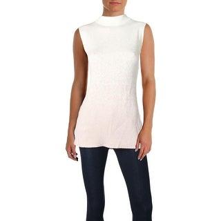 T Tahari Womens Via Pullover Sweater Metallic Sleeveless
