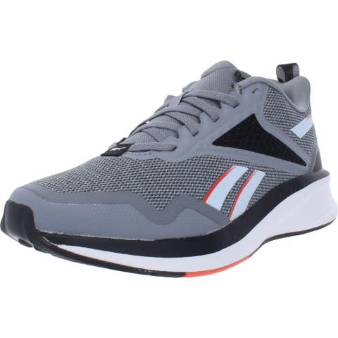 Reebok Mens Fusium Run Lite Running Shoes Cushioned Footbed Crossfit - Cold Grey4/Glacier Blue/Vivid Orange - 6 Medium (D)