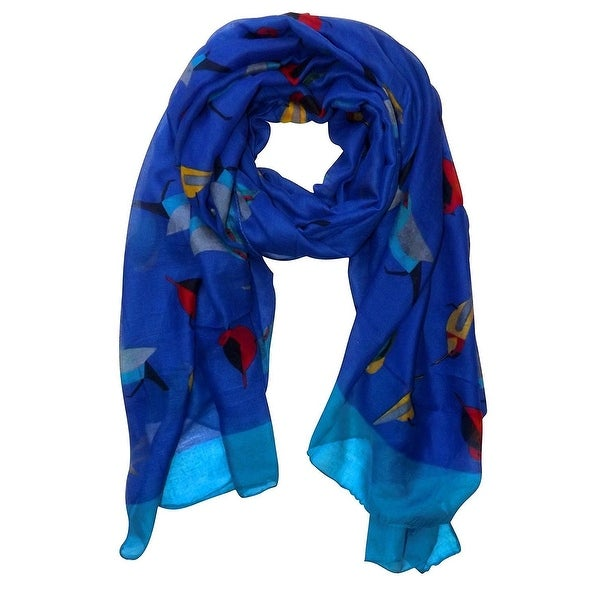 Elegant Women Bird Print Soft Long Scarf Wrap Shawl - 68 inches x 35 inches