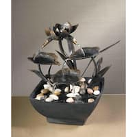 "9"" Contemporary Multi-Tiered Asian Leaf Indoor Table Top Water Fountain - Black"