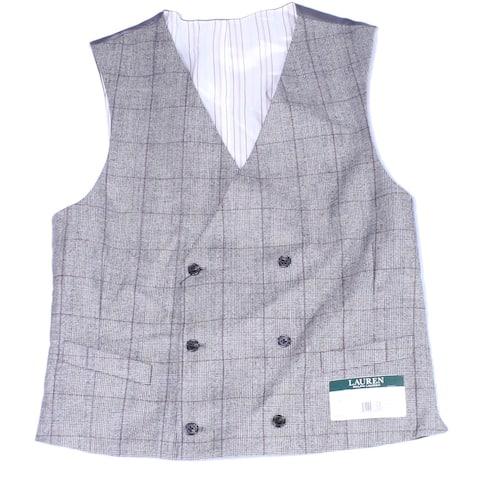 Lauren By Ralph Lauren Mens Vest Gray Size Medium M Plaid Print Wool