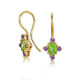 Bling Jewelry African Amethyst Peridot Drop Earrings 925 Silver - Green