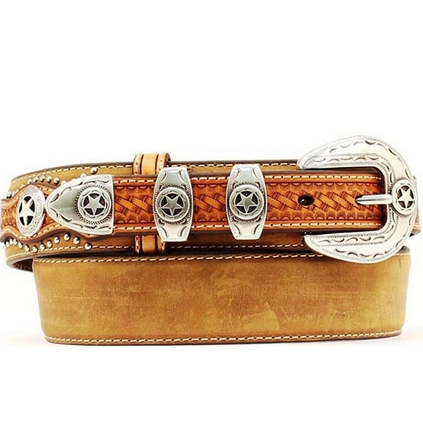 Nocona Western Belt Mens Leather Ranger Star Concho Brown