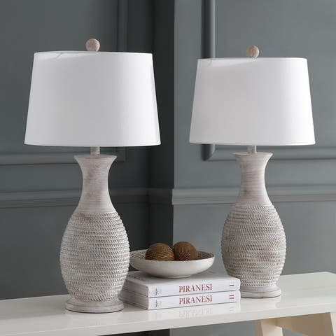 "Safavieh Lighting 30-inch Bentlee Grey LED Table Lamp (Set of 2) - 15""x15""x30"""