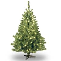 4' Pre-lit Kincaid Spruce Artificial Christmas Tree –Clear Lights - green