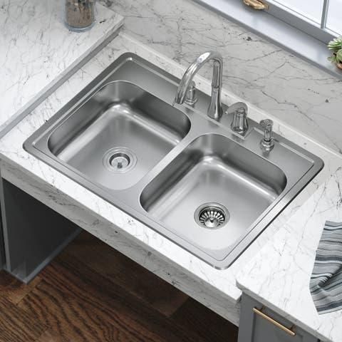 ADAT550D 20 Gauge Double Bowl Stainless Steel Kitchen Sink, Sink Only