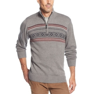 Tricots St Raphael Fair Isle Sweater Large L Iron Grey Heather 1/4 Zip Mockneck
