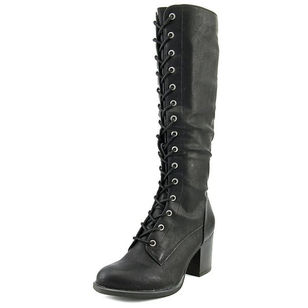 American Rag Lorah Women Round Toe Leather Black Over the Knee Boot