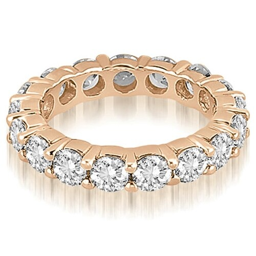 5.60 cttw. 14K Rose Gold Round Shared Prong Diamond Eternity Ring
