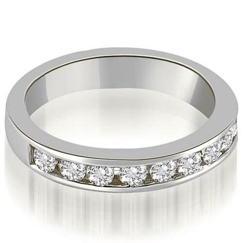 1.00 cttw. 14K White Gold Classic Channel Set Round Cut Diamond Wedding Ring