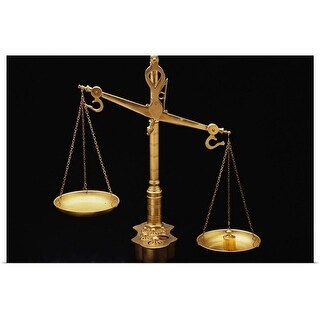 Poster Print entitled Golden Scales of Justice Out of Balance - multi-color
