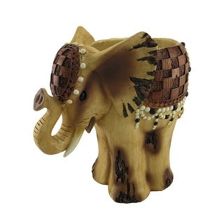 Wooden Look African Elephant Planter 15 In.