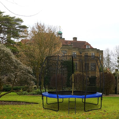 12FT Blue Finish Outdoor Trampoline With Safety Net and Ladder