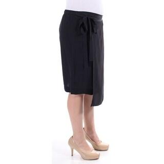 DKNY $255 Womens New 1185 Black Faux Wrap Casual Skirt Regular M B+B
