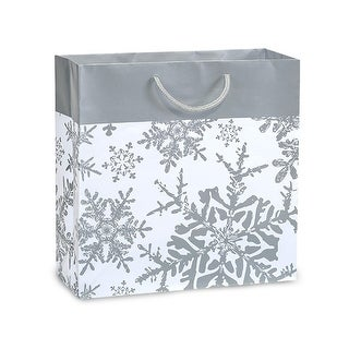 """Pack Of 100, Filly Size 12 x 5 x 12"""" Silver Snowflakes Gloss Filly Laminated Paper Gift Bags W/Cord Handles"""
