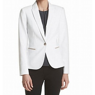 Tommy Hilfiger NEW White Single Button Women's 8 Elbow Patch Blazer