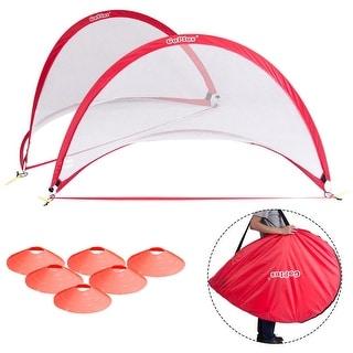 Goplus Set of 2 Portable 6' Pop-Up Soccer Goals Set For Backyard w Carrying Bag 6 Cones