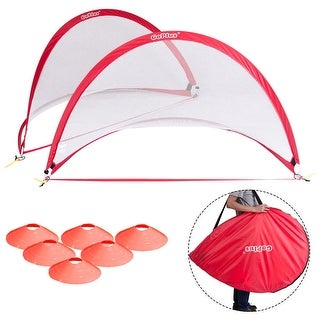 Goplus Set of 2 Portable 6' Pop-Up Soccer Goals Set For Backyard w Carrying Bag 6 Cones - Red