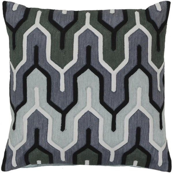 "22"" Belvedere Stripes Gray, Black and Green Decorative Square Throw Pillow - Down Filler"