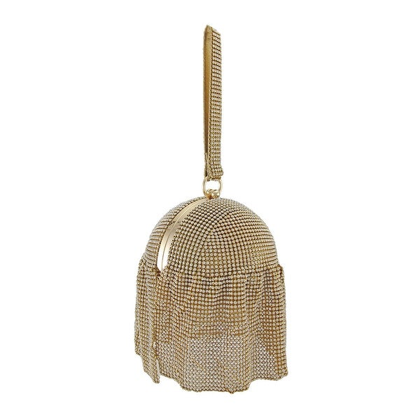 Gold Rhinestone Mesh Covered Round Wristlet Handbag