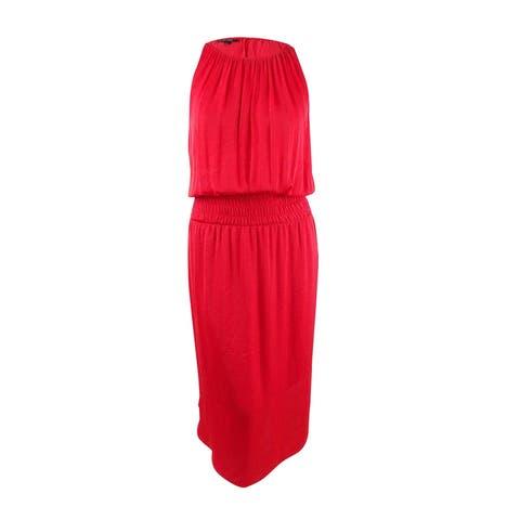 Alfani Women's Plus Size Smocked Satin Midi Dress (3X, Red) - Red - 3X