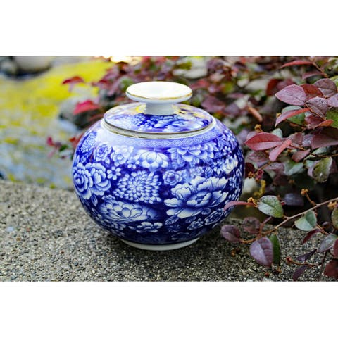 Blue and White Porcelain Decorative Floral Container or Jar