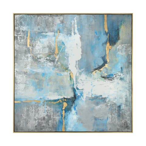 """Uttermost 35355 Meditation 61"""" x 61"""" Framed Abstract Painting on Canvas by Grace Feyock - Abstract Blues / Gold Frame"""