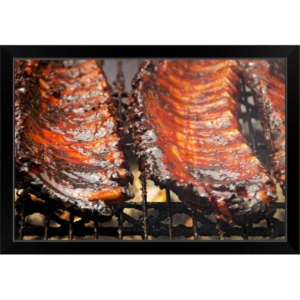 """Spareribs on barbeque"" Black Framed Print"