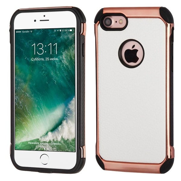 Insten White/ Black Leather TPU Dual Layer Hybrid Case Cover For Apple iPhone 7