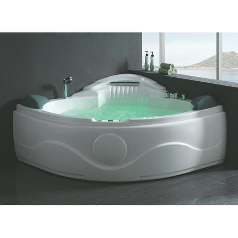 "Eago AM505ETL 60-5/8"" Soaking Bathtub for Corner Installations with Center Drain and MaxLoad - White"