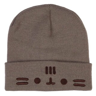 Pusheen the Cat Cuffed Face Beanie - Grey