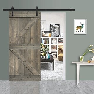 36 in x 84 in Weather Gray Stained K Barn Door w/ Sliding Hardware