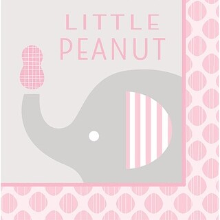 """Club Pack of 192 Little Peanut Girl Pink Baby Shower """"Little Peanut"""" Luncheon Napkins 6.5"""""""