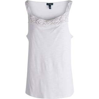 Polo Ralph Lauren Womens Tank Top Cotton Crochet Trim